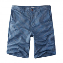 Men's Casual Stripe Linen Cotton Shorts