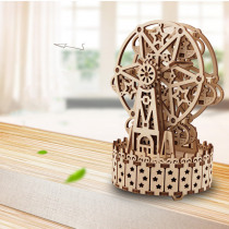 3D Antique Self-Assembly Rotating Wooden Music Ferris Wheel Gear Box Laser Cut Parts Puzzle Building Kits Mechanical Model DIY Gift Decorations