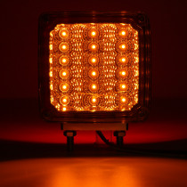 2pcs Car 39 LED Lights 12V Amber/Red Double Stud Mount Pedestal Cab Fender Dual Face Stop Turn Tail Signal Lamps