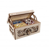 3D Antique Self-Assembly Wooden Music Box Jewelry Case Laser Cut Parts Building Kits Mechanical Model Gift Decorations